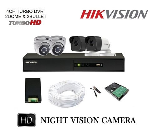 Hikvision 3MP 4CH Turbo HD DVR with 2 Dome & 2 Bullet Camera Full Combo Kit