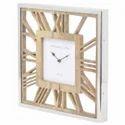 Vitc2085 Wood And Steel Square Wall Clock
