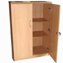 Hinged Brown Wooden Storage Cabinet