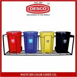 DESCO Waste Bin Color Coded 55L, Size: Capacity 55 L for Hospital