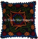 Embroidery Cushion Cover Pom Pom Lace Suzani Pillow