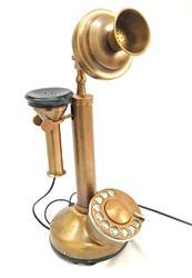 Landline Connetion Old Time Antique Finish Working Brass Candlestick Telephone, 36x16x13cm (Brown), 2762