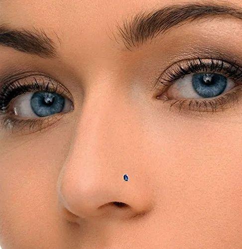 Yellow Gold Gemstone Wedding Np1076 Blue Sapphire Nose Stud Rs
