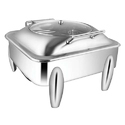 Square Glass LID Chafer W Curved Legs 7LTRS