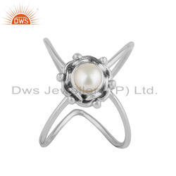 Natural Pearl Gemstone Designer Oxidized Silver Stackable Ring Jewelry