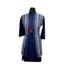 Ladies Blue Cotton Jacket Kurti
