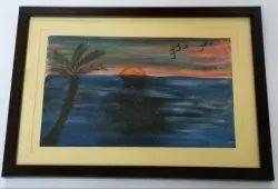 Paper Wood Look Start Of New Day Sunrise Handmade Painting