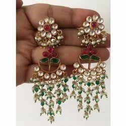 Silver Wedding Ladies Kundan Earrings