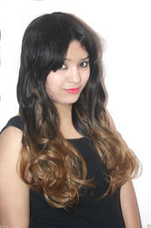 Women Imported Black Golden Curly Hair Wig