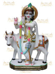 Marble Krishna With Cow Murti