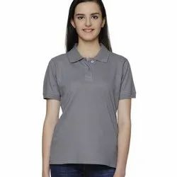 Casual Wear Half Sleeve Ruffty Solid Polo Neck Cotton T Shirt, Size: S-XXL