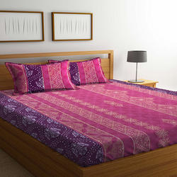 Bombay Dyeing Mimosaa 100 TC Cotton Double Bedsheet with 2 Pillow Covers, Marron