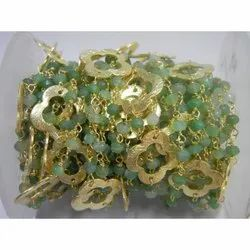 Chrysoprase Gemstone Beaded Chain With Clover