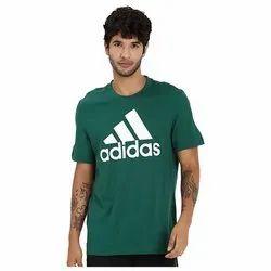 Green Adidas Mens Cotton Plain T-Shirt, Size: Medium