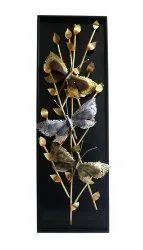 Handcrafted Golden Triple Butterfly On Tree Wall Decor