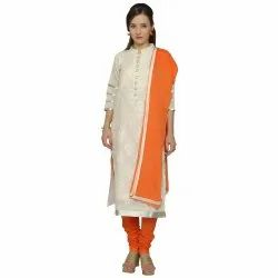 Off White Colored Cotton Embroidery Unstitched Casual Wear Salwar Suit