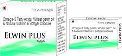 Omega-3 Fatty Acids Wheat Germ Oil and Natural Vitamin E Softgel Capsule