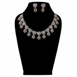 White Modern Party Wear Artificial Necklace Set