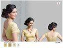 Net Short Sleeves Designer Lycra Golden Stretchable Blouse