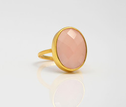 Oval Shape Pink Chalcedony Birthstone Powerful Gemstone Micron Gold Plated Ring