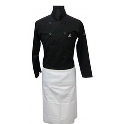 Chef Coat Black Executive With White Apron