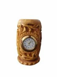 Wooden Handmade Engraved Pen Holder Stand With Clock