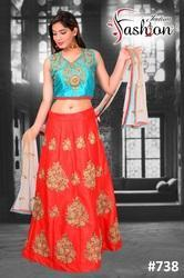 Red Embroided Crop Top Lehenga