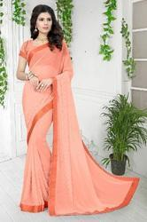 Georgette Fashion Arrival  Stone Work Light Orange Color saree