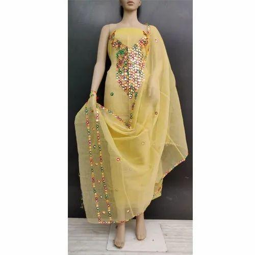 Kota Doria Mirror Work Dress Material