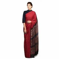 Party Wear Printed Ajrakh Modal Red Silk Saree, 6.5 Meter, With Blouse Piece
