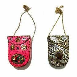 Ladies Metal Stone Mosaic Mobile Bag