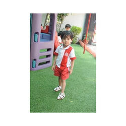 White And Red Unisex Play School Uniforms