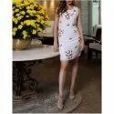 Party Wear Embroidered Mini White Beaded Dress