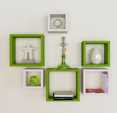 Green And White Square Shape Wall Shelf Set At Rs 40 Piece Custom White Square Floating Shelves