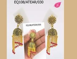 Fashionage Brass Yellow Gold Plated Golden Earrings