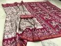 Ruby Red Party Wear Batik Silk Saree