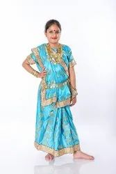 Blue Indian Saree Fancy Dress For Girls, With blouse piece