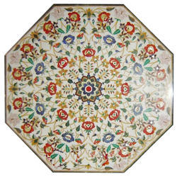 Stone Inlaid Handcrafted Marble Table Top