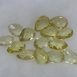 Natural Lemon Quartz Faceted Undrilled Pears Briolettes