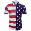 American Flag Print Hidden Button Shirt