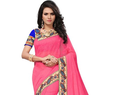 80d407233c2f08 Senoya Light Pink Crape Silk Saree With Blouse - Purna Creation ...