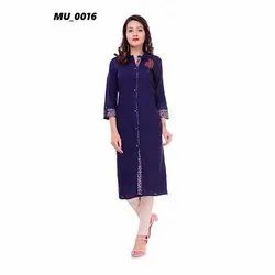 Navy Blue Ladies Kurti