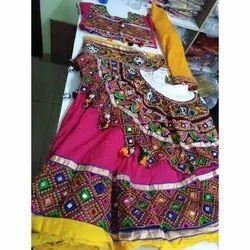 Cotton Embroidered Navratri Lehenga Choli, Handwash