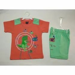 Casual Wear Kids Orange Green Hosiery Baba Suit