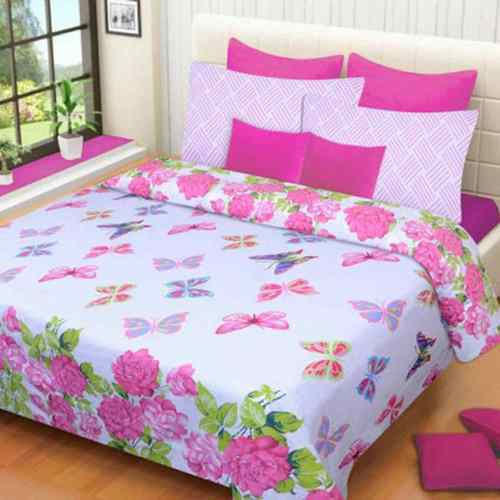 Nice Butterfly Print Double Bed Sheet