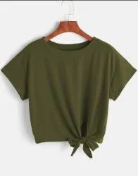Green Ladies Round Neck T Shirt Crop Top