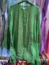 Round Neck Full Sleeves Super Fine Rayon Printed Green Kurta, Size: Large
