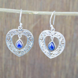925 Sterling Silver Fancy Jewelry Lapis Lazuli Gemstone New Earring