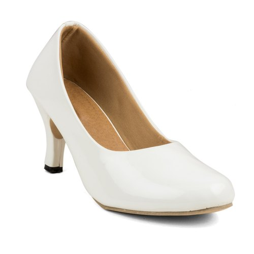 Ladies Kitten Heels White Shoes, Ladies