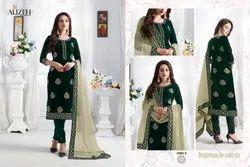 Agarwal Fashion Georgette Green Ladies Salwar Suits, Dry clean